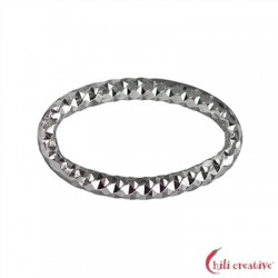 Bindering oval 18 mm Silber facettiert VE 6 Stück