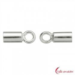 Endkappe Basis 7 mm/4 mm für 2,5mm-Bänder Silber VE 4 Stück