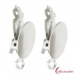Ohrclip ovale Platte mit Öse 14 mm Silber VE 2 Stück