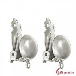 Ohrclip Halbkugel 10 mm Silber VE 2 Stück