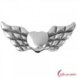 Flügel Herz 22 mm Silber VE 4 Stück