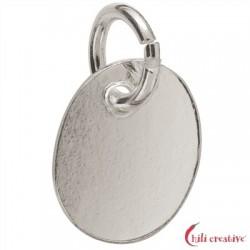 Stempel-Plättchen mit Öse 9 mm Silber VE 5 Stück