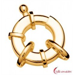 Federring Design flach 14 mm mit 2 Ösen Silber vergoldet 1 Stück