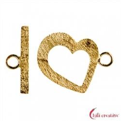 Knebel-Verschluß Herz 17 mm Silber vergoldet 1 Stück