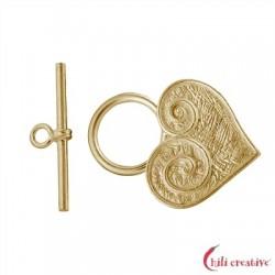 Knebel-Verschluß Herz 25 mm Silber vergoldet matt 1 Stück