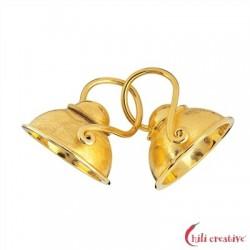 Haken mit Halbschale 16 mm Silber vergoldet matt 1 Stück
