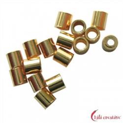 Crimp-Röhrchen 2 mm Silber vergoldet VE 200 Stück
