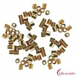 Crimp-Röhrchen 1,5 mm Silber vergoldet VE 2600 Stück