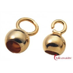 Endkapseln kleine Öse 5 mm Silber vergoldet VE 10 Stück