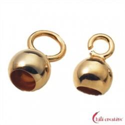 Endkapseln 4 mm große Öse Silber vergoldet VE 10 Stück