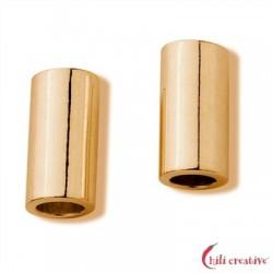 Röhrchen 3,5x7 mm Silber vergoldet matt VE 12 Stück