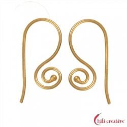 Ohrhaken Spirale außen 26 mm Silber vergoldet VE 6 Stück