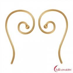 Ohrhaken Spirale innen 26 mm Silber vergoldet VE 6 Stück