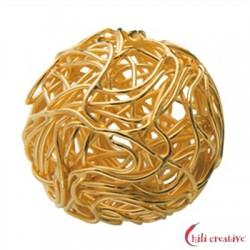 Draht-Kugel 20 mm Silber vergoldet 1 Stück