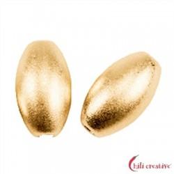 Olive 6 mm Silber vergoldet matt VE 7 Stück