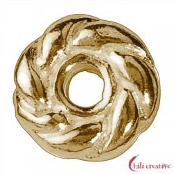 Gekordeltes Rädchen 5 mm Silber vergoldet VE 26 Stück