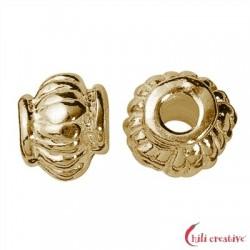 Linse geriffelt 4,5 mm Silber vergoldet VE 17 Stück