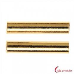 Röhrchen 2x15 mm Silber vergoldet VE 15 Stück