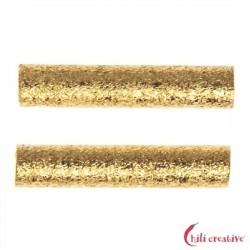 Röhrchen 2x15 mm Silber vergoldet matt VE 15 Stück