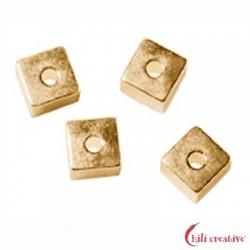 Würfel längs gebohrt 4 mm Silber vergoldet VE 10 Stück