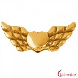 Flügel Herz 22 mm Silber vergoldet VE 4 Stück