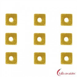 Scheibe quadratisch 3x3 mm Silber vergoldet VE 62 Stück