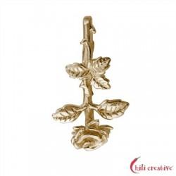 Rose erblüht 28 mm Silber vergoldet VE 2 Stück