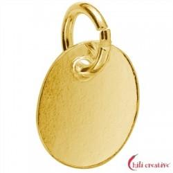 Stempel-Plättchen mit Öse 9 mm Silber vergoldet VE 5 Stück