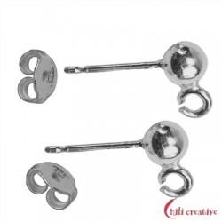 Ohrstecker mit Öse Kugel 4 mm Silber rhodiniert VE 6 Stück