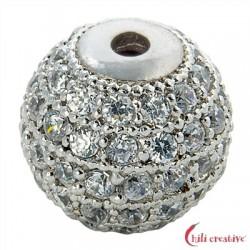 Kugel 10x9 mm (groß) Silber rhodiniert mit Cubic Zirkonia (synth.) 1 Stück