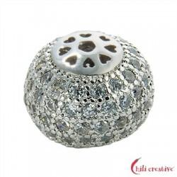 Kugel 10x8 mm (klein) Silber rhodiniert mit Cubic Zirconia (synth.) 1 Stück