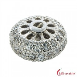 Rad 9x5 mm (klein) Silber rhodiniert mit Cubic Zirkonia (synth.) 1 Stück