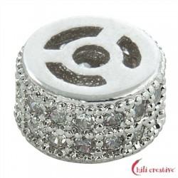 Walze 7x4 mm Silber rhodiniert mit Cubic Zirkonia (synth.) 1 Stück