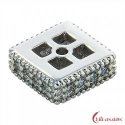 Quadrat flach 7x7x3 mm Silber rhodiniert mit Cubic Zirconia (synth.) 1 Stück