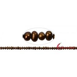 Strang Potatoe Süßwasser-Perle A braun (gefärbt) 3,5-4 mm
