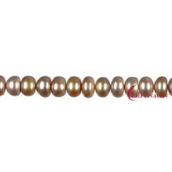 Strang Button Süßwasser-Perle Ab violett hell (gefärbt) 10 mm