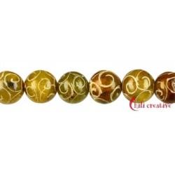 Strang Kugel Speckstein (China) graviert 12 mm