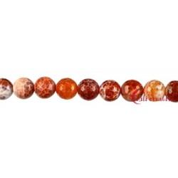 Strang Kugel Achat (Schlange) rot (gefärbt) facettiert 12 mm