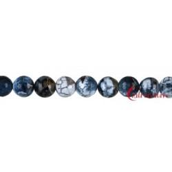 Strang Kugel Achat (Schlange) schwarz (gefärbt) facettiert 12 mm