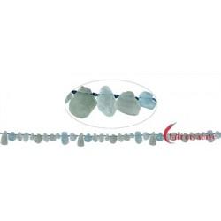 Strang Tropfen flach roh Aquamarin 4-10 mm
