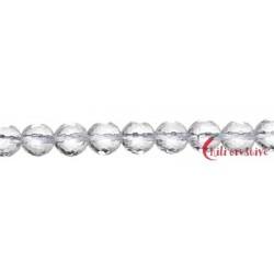Strang Kugel Bergkristall facettiert 6 mm