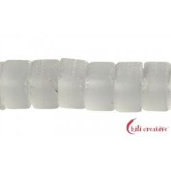 Strang Zylinder Bergkristall matt 8 x 12 mm
