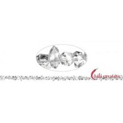 Strang Doppelender Bergkristall (Herkimer-Art Pakistan) natur quer gebohrt 3-4 x 6-9 mm