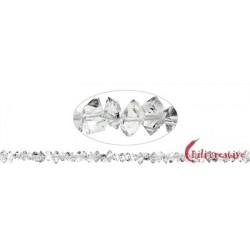 Strang Doppelender Bergkristall (Herkimer-Art Pakistan) natur quer gebohrt 4-5 x 6-10 mm