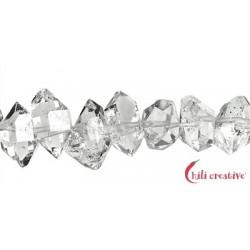 Strang Doppelender Bergkristall (Herkimer-Art Pakistan) natur quer gebohrt 7-10 x 10-15 mm
