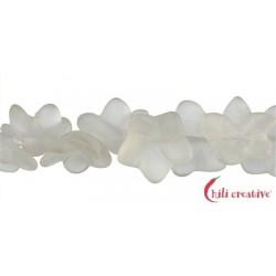 Strang Blüte Bergkristall matt 14 x 8 mm