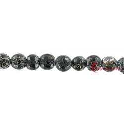 Strang Kugel Onyx (gefärbt) gefurcht facettiert 8 mm 35cm