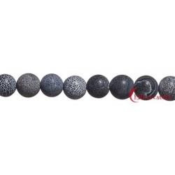 Strang Kugel Onyx (gefärbt) gefurcht matt 10 mm 37cm