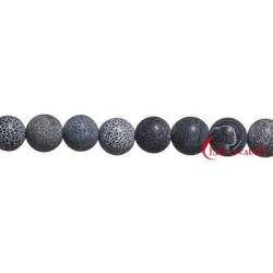 Strang Kugel Onyx (gefärbt) gefurcht matt 14 mm