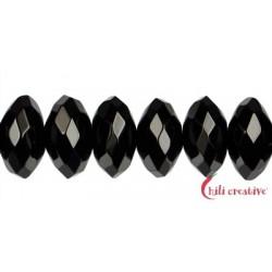 Strang Button Onyx (gefärbt) facettiert 7 x 12 mm